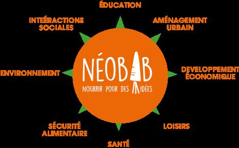 Fonctions apportées par les fermes urbaines conçues et aménagées par NEOBAB : Education, aménagement urbain, développement économique, loisirs, santé, sécurité alimentaire, environnement, intéractions sociales