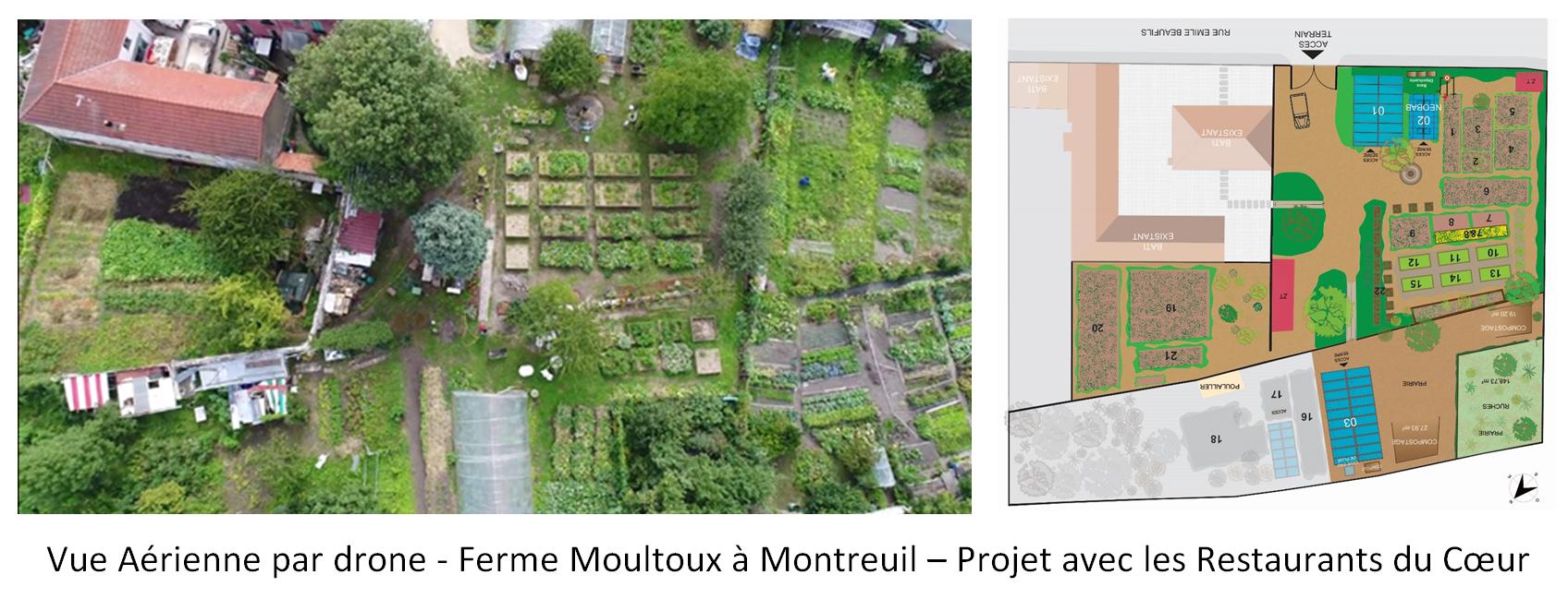 Vue aérienne par drone - Ferme Moultoux à Montreuil - Projet avec les Restaurants du Coeur